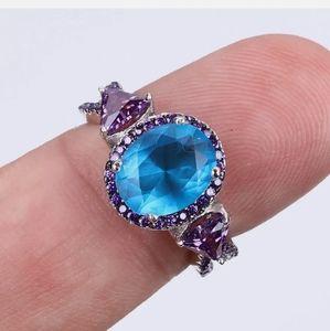 Ocean blue Topaz & amethyst sterling silver ring